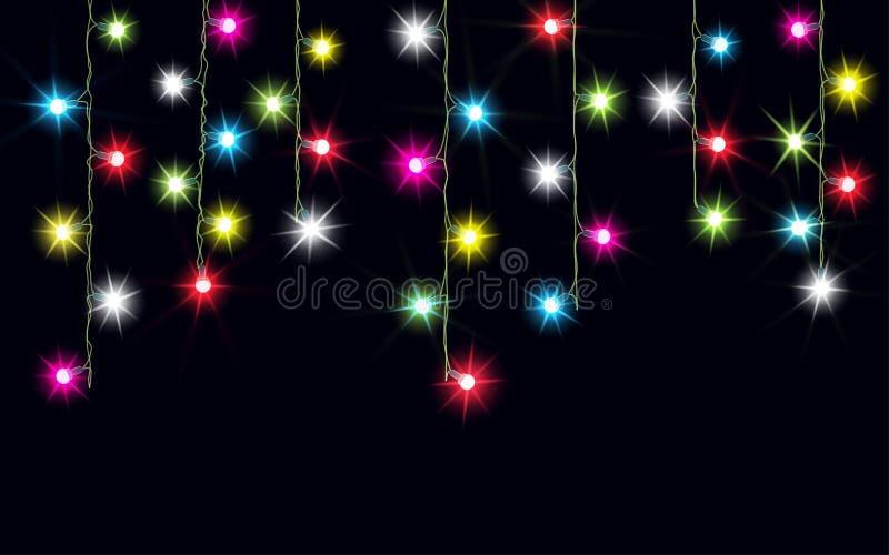 诗歌选,圣诞节装饰光线影响 被隔绝的传染媒介设计元素 发光为Xmas假日贺卡des点燃 库存例证
