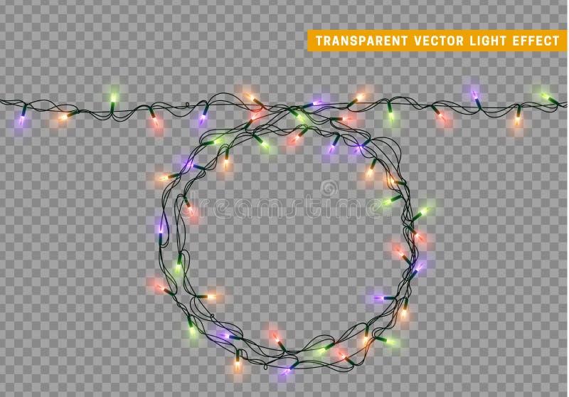 诗歌选,圣诞节装饰光线影响 向量例证