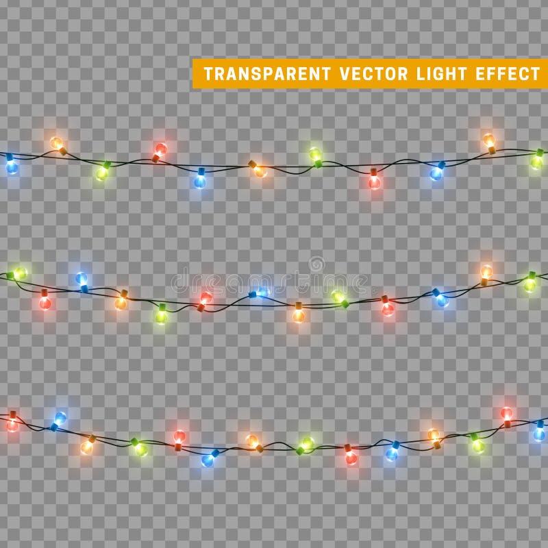 诗歌选,圣诞节装饰光线影响 库存例证