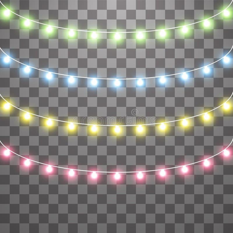 诗歌选,圣诞装饰光线影响 被隔绝的传染媒介设计元素 发光的光为Xmas假日 向量例证