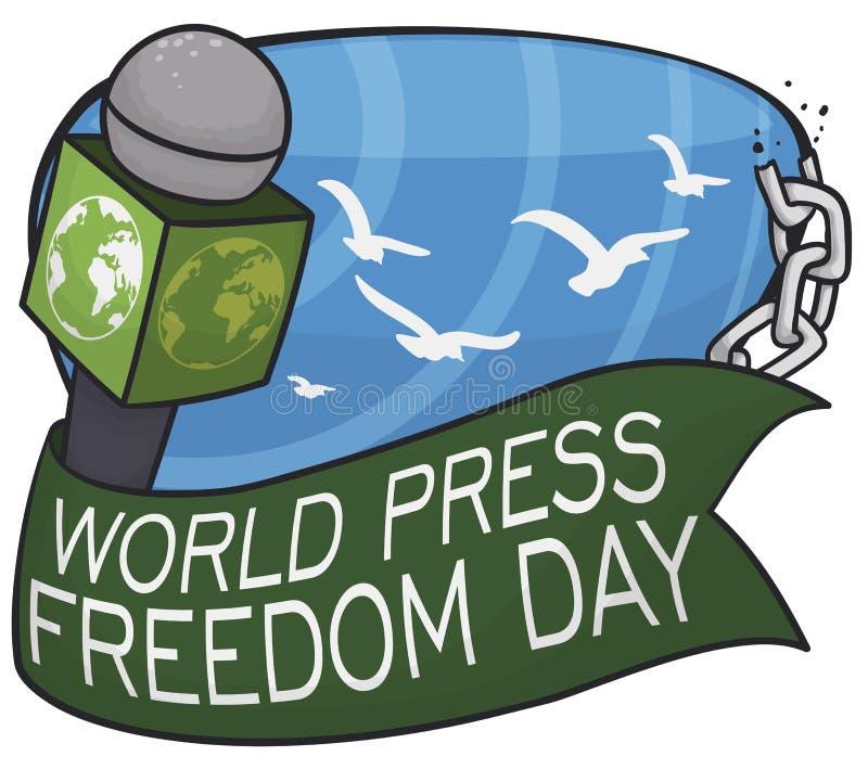 话筒、丝带、残破的链子和鸠为新闻自由天,传染媒介例证 库存例证
