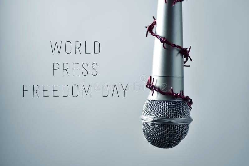话筒和文本世界新闻自由天 免版税库存图片