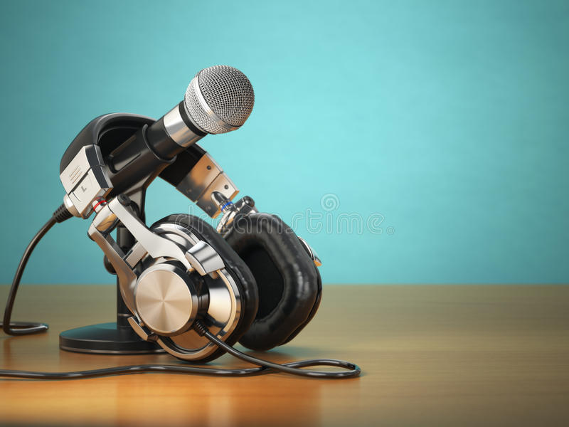 话筒和耳机 录音或收音机评论员 向量例证