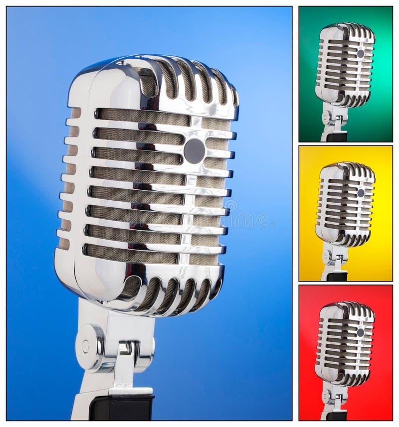 话筒拼贴画在不同的色的背景的 免版税库存照片