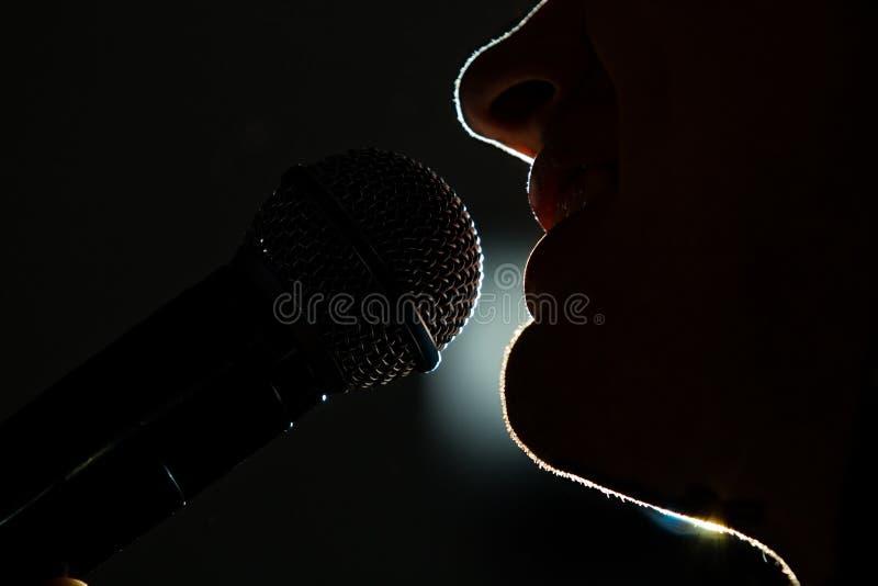 话筒歌唱家 免版税图库摄影