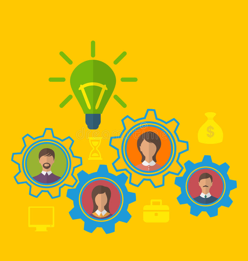 诞生新的创造性的想法,有效的配合的概念 库存例证