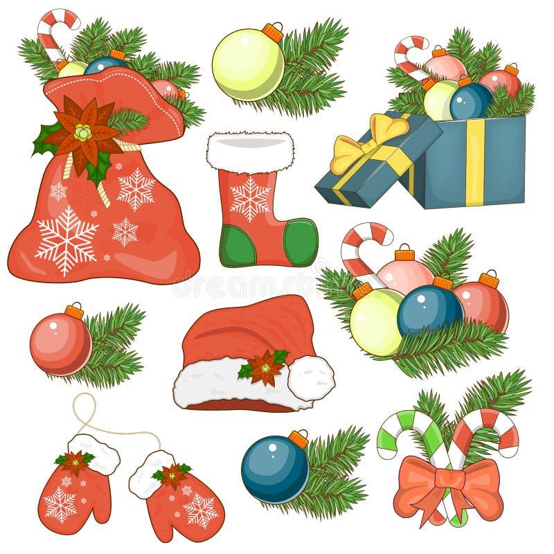 诞生贴纸的象设置了与礼物盒,圣诞树,糖果 向量例证