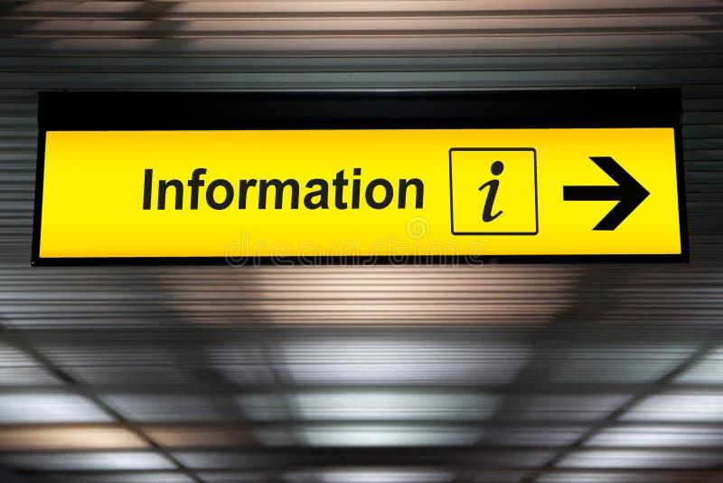 询问台,信息标志在游人的机场 免版税库存图片