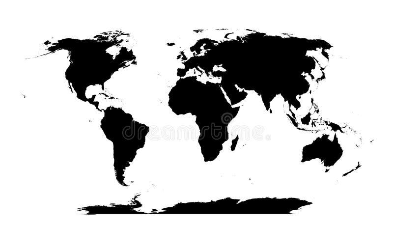 详细世界地图剪影 向量例证