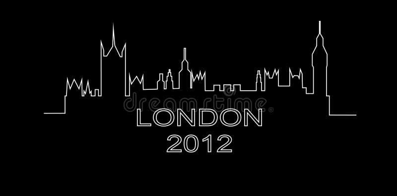 详细伦敦概述剪影 向量例证