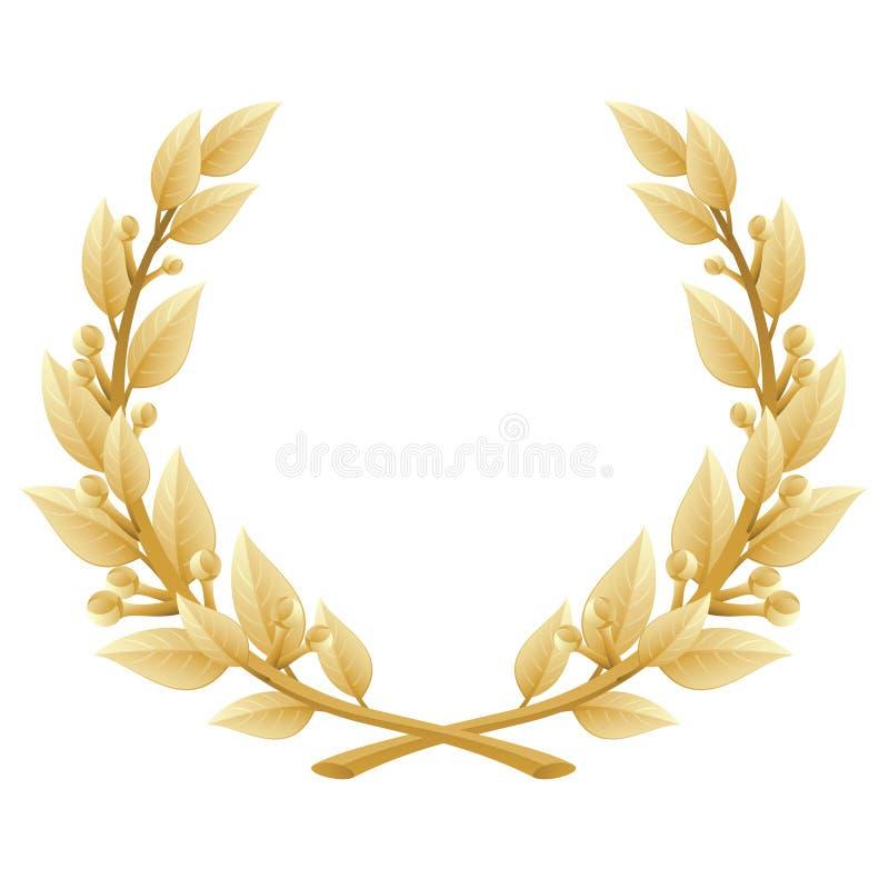 详细月桂树花圈胜利或质量证书, 库存例证