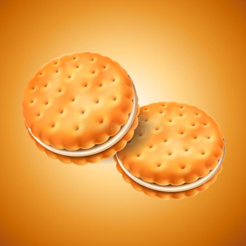 详细的三明治曲奇饼或薄脆饼干与奶油色装填 易使用在设计 食物和甜点,烘烤和烹调 向量例证