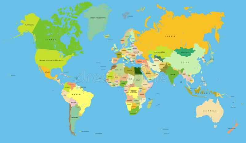 详细的世界地图,传染媒介 向量例证