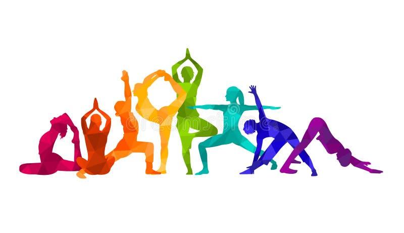 详细的五颜六色的剪影瑜伽传染媒介例证 球概念健身pilates放松 体操 AerobicsSport 库存例证