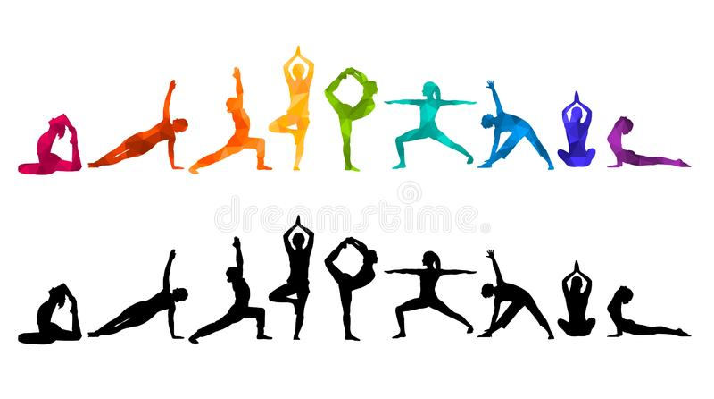 详细的五颜六色的剪影瑜伽例证 球概念健身pilates放松 体操 AerobicsSport 向量例证