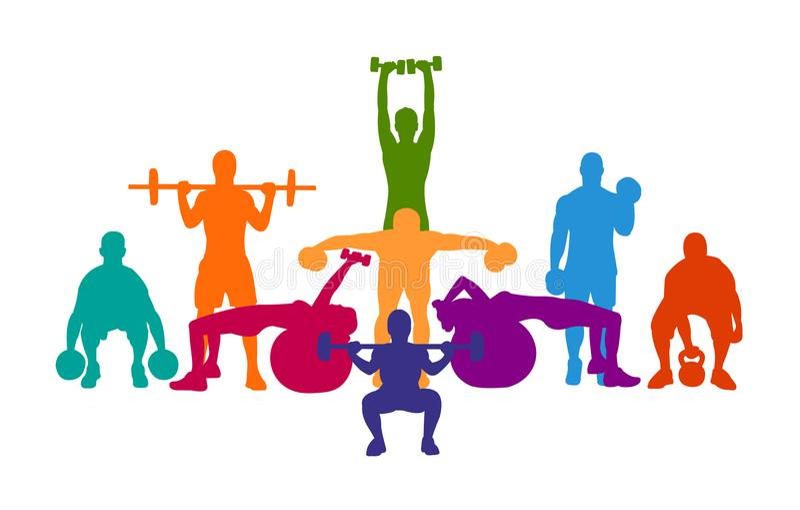 详细的传染媒介例证剪影坚强的辗压人民集合女孩和人炫耀健身健身房体型锻炼powerlifti 皇族释放例证