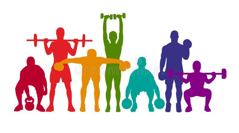 详细的传染媒介例证剪影坚强的辗压人民集合女孩和人炫耀健身健身房体型锻炼powerlifti 向量例证
