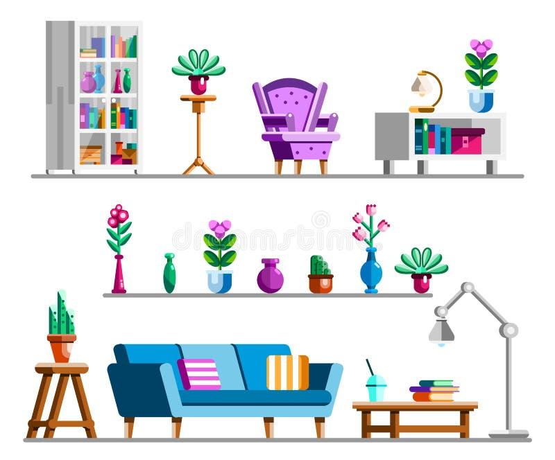 详细的内部集合 客厅clipart书架和书橱,舒适扶手椅子,花架,灯,咖啡桌 库存例证