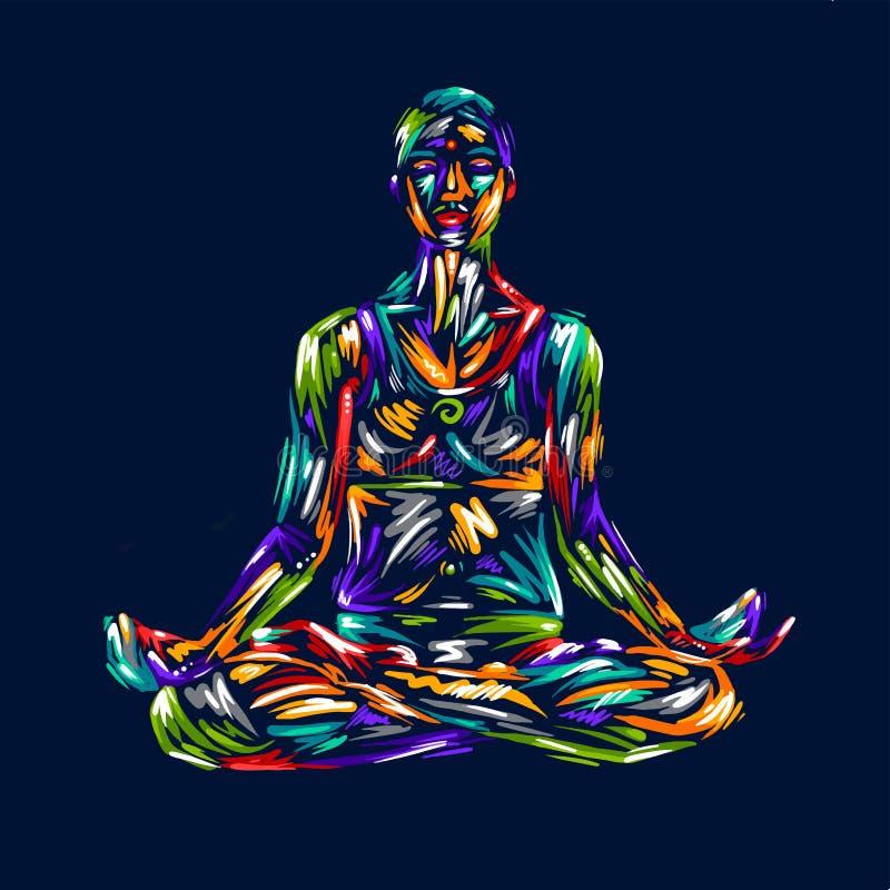 详细的剪影瑜伽例证 球概念健身pilates放松 体操 有氧 莲花设计艺术五颜六色的ha姿势  向量例证