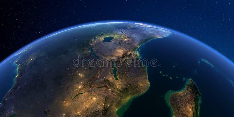 详细的地球在晚上 东非 莫桑比克,坦桑尼亚,肯尼亚 向量例证