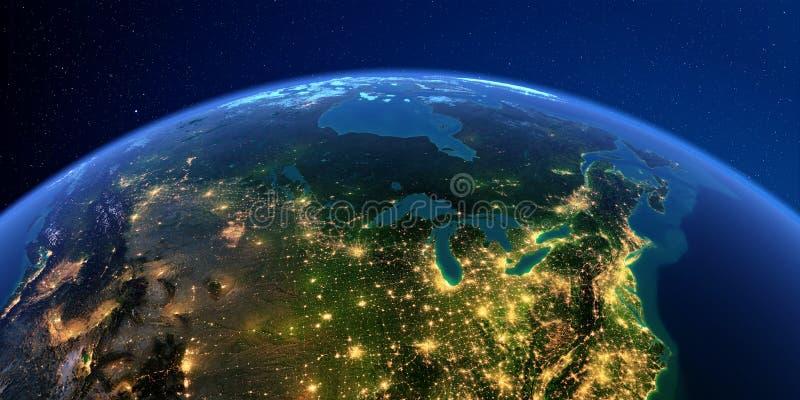 详细的地球在晚上 北U S 状态和加拿大 向量例证