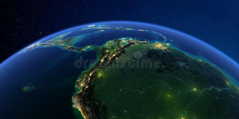 详细的地球在晚上 南美洲的西部 秘鲁、厄瓜多尔、哥伦比亚、巴西的委内瑞拉和部分 皇族释放例证