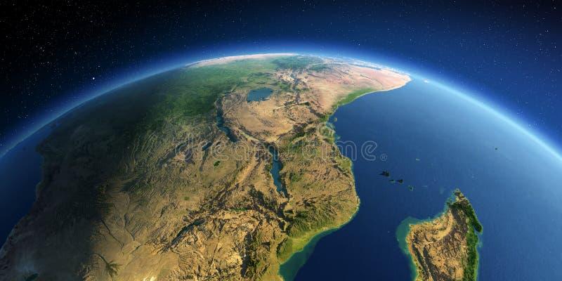 详细的地球 东非 莫桑比克,坦桑尼亚,肯尼亚,马达加斯加 库存例证