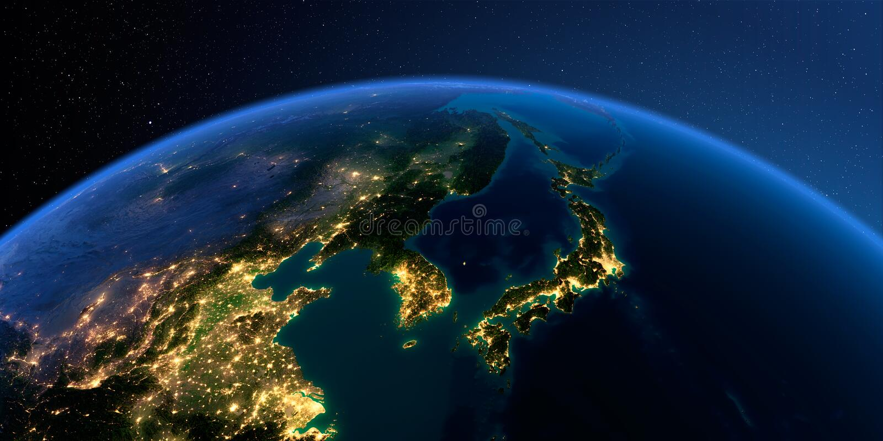 详细的地球 韩国和日本 库存例证