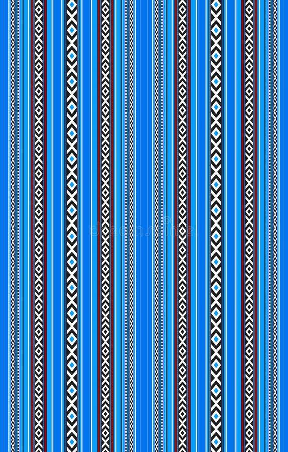 详细的垂直的传统被手工造的蓝色Sadu地毯 皇族释放例证