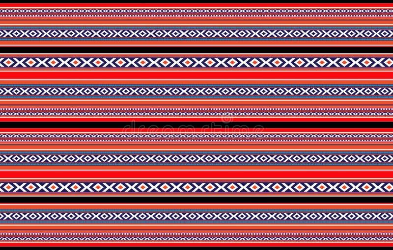 详细的水平的传统被手工造的红色黑白色Sadu地毯 向量例证