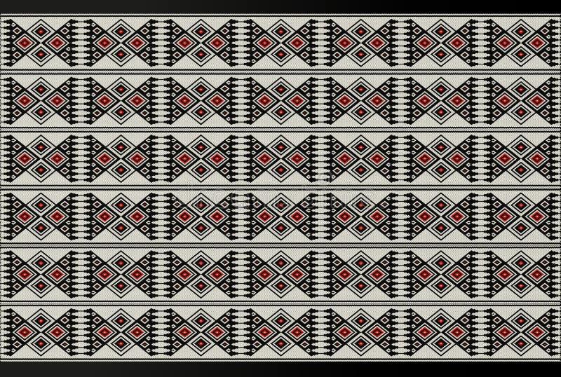详细的红色和黑题材Sadu传统种族主题 皇族释放例证