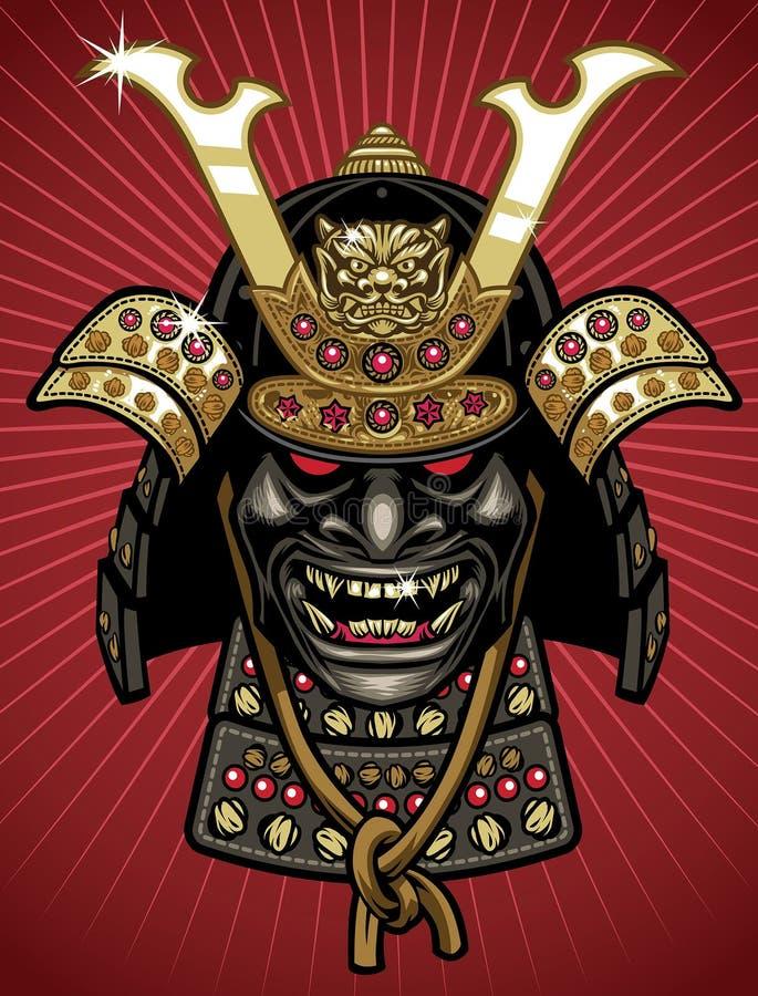 详述传统武士盔甲和面具 皇族释放例证