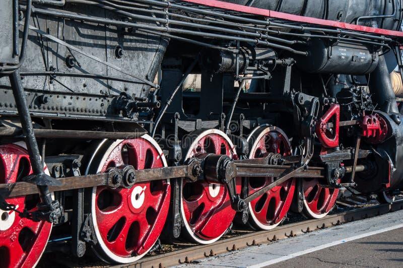 详述减速火箭的蒸汽机车 库存图片