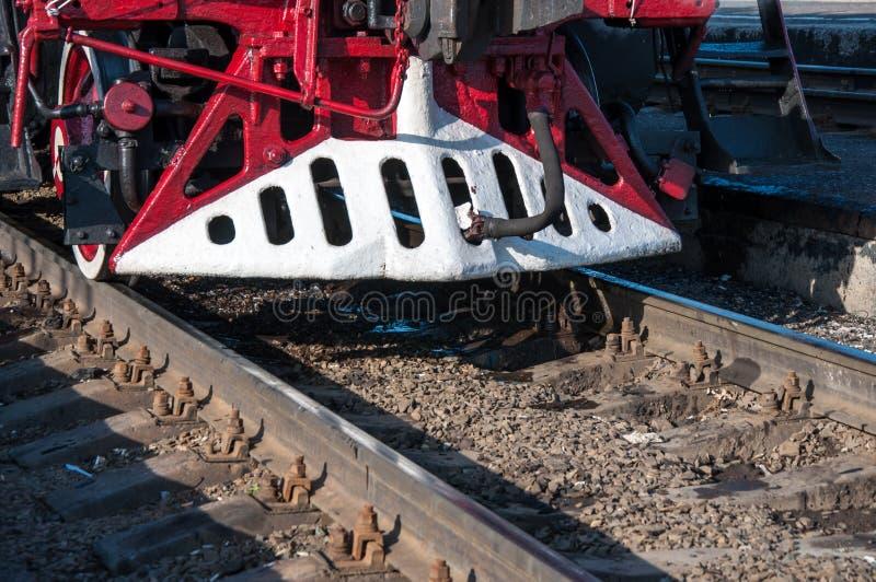 详述减速火箭的蒸汽机车 免版税库存照片