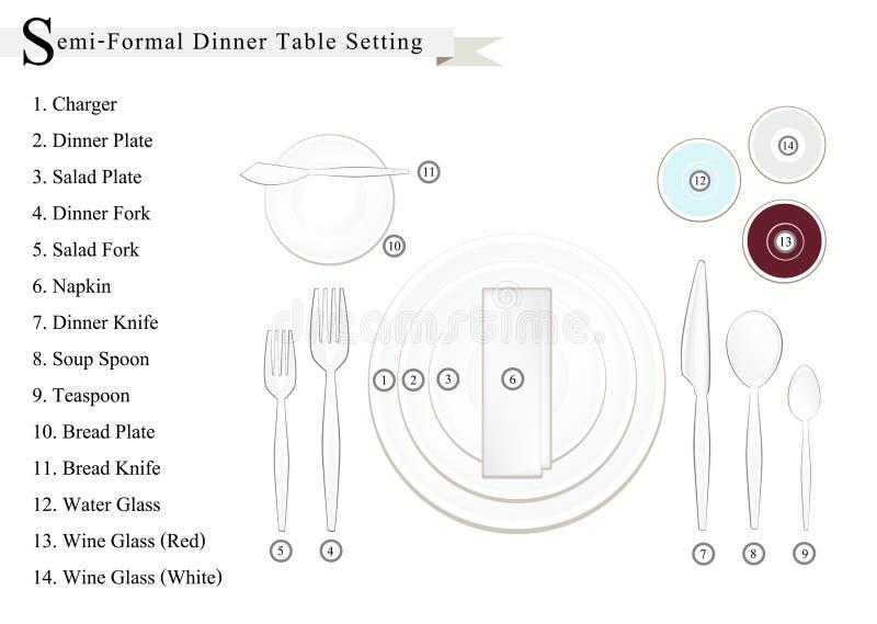 详述半正式晚餐餐位餐具图 库存例证