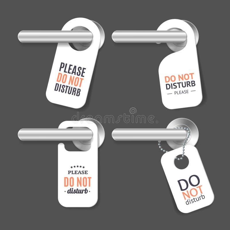 详述的现实3d不干扰标志和门把手集合 向量 皇族释放例证
