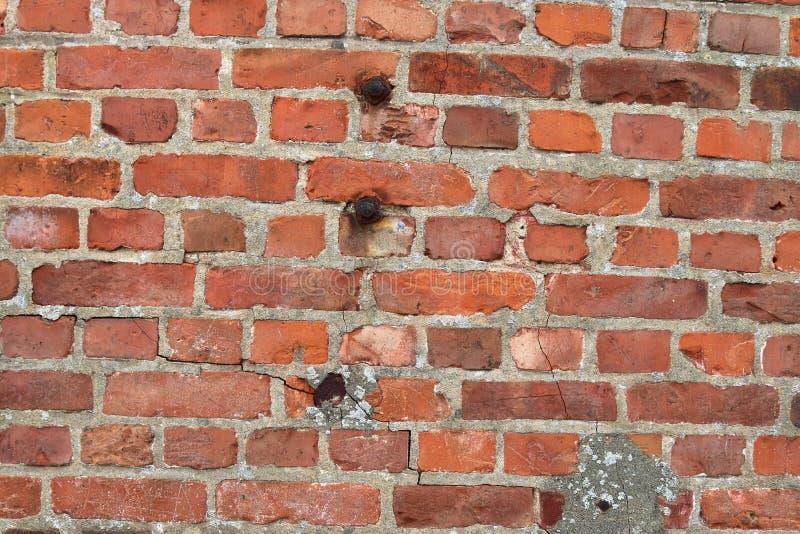 详述紧密在红色被风化的砖墙上的看法有在高分辨率的有些镇压的 图库摄影