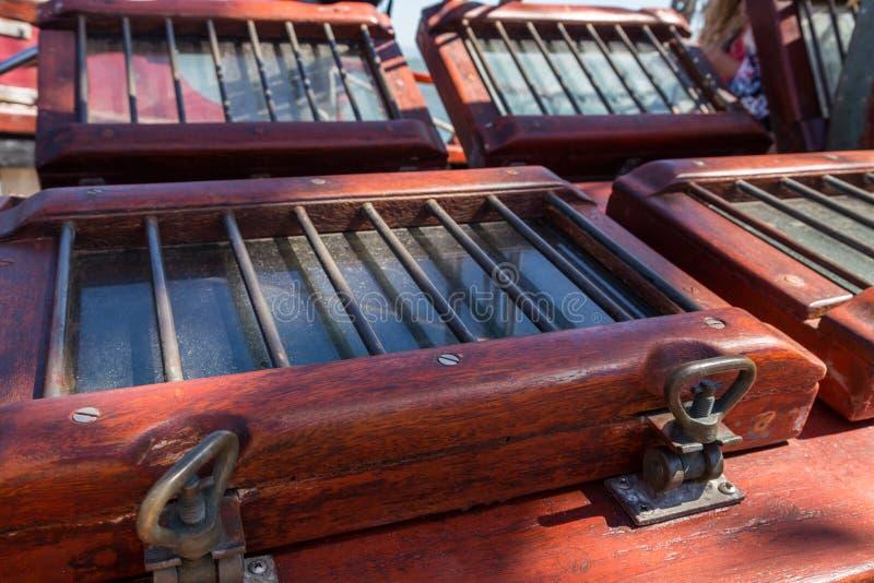 详述船的设备在甲板的 免版税库存照片