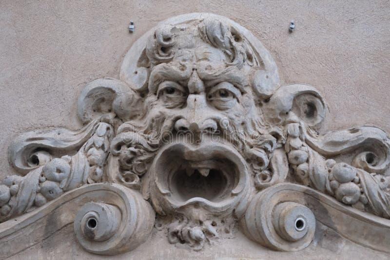 详述面具视图,阿奇雷亚莱,西西里岛,意大利 图库摄影