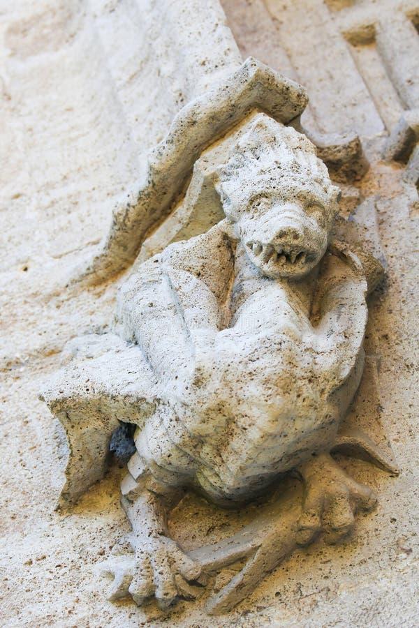 详述龙的雕塑在Llotja de la色达在巴伦西亚 免版税库存图片