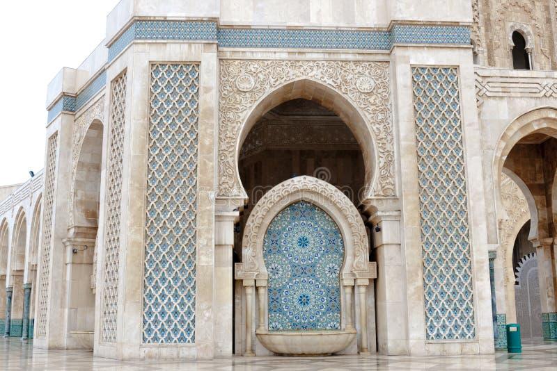 详述建筑学哈桑二世国王清真寺,卡萨布兰卡 免版税库存照片