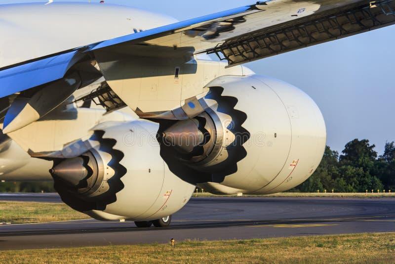 详细喷气机引擎 库存照片