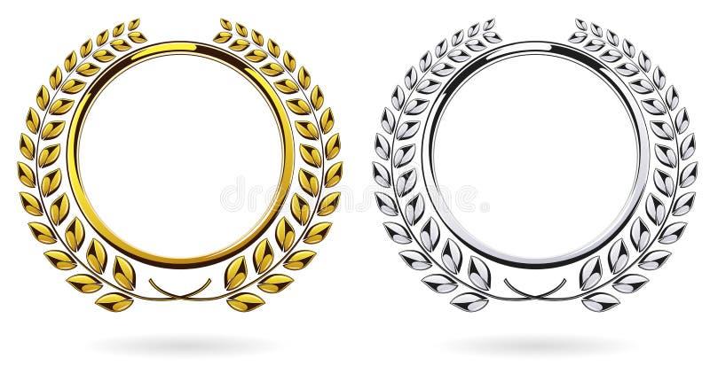 详细的圆的银和金黄月桂树花圈奖在白色背景设置了 皇族释放例证