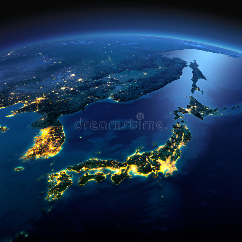 详细的地球 亚洲、日本和韩国, a的日本海的部分 库存例证