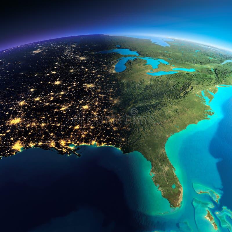 详细的地球 加利福尼亚湾、墨西哥和西部美国各州 S 皇族释放例证