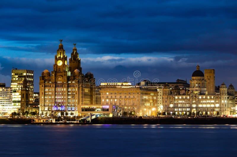 详细的晚上被射击利物浦市地平线 库存图片