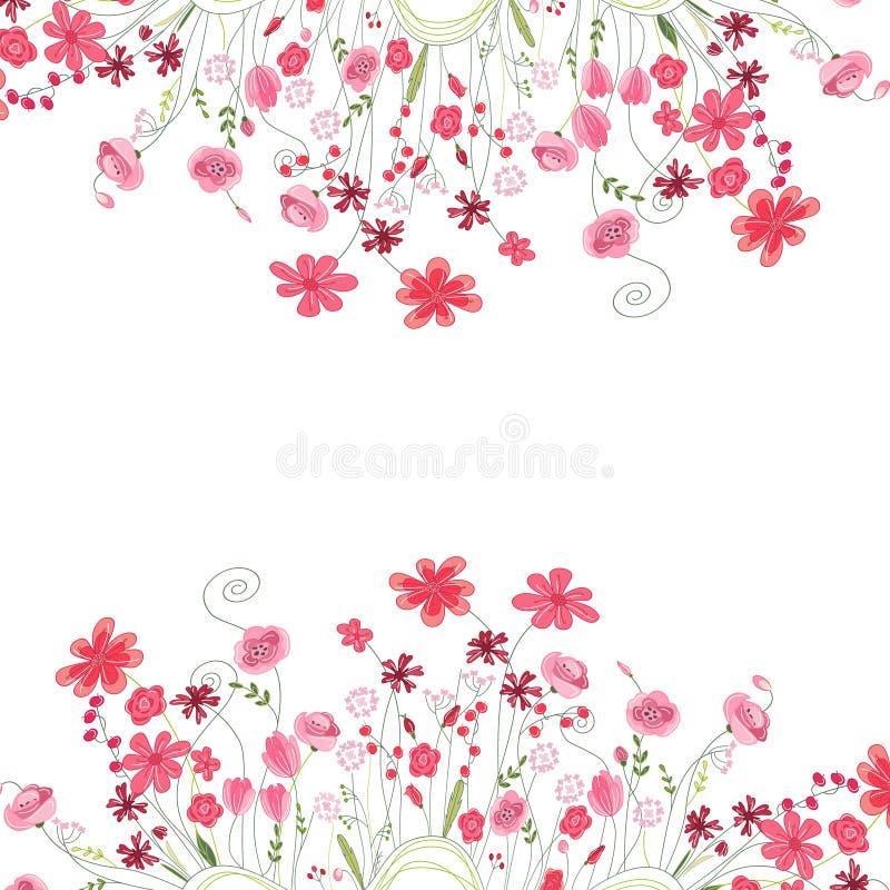 详细的等高正方形框架用在白色和野花隔绝的草本、玫瑰 您的设计的贺卡 库存例证