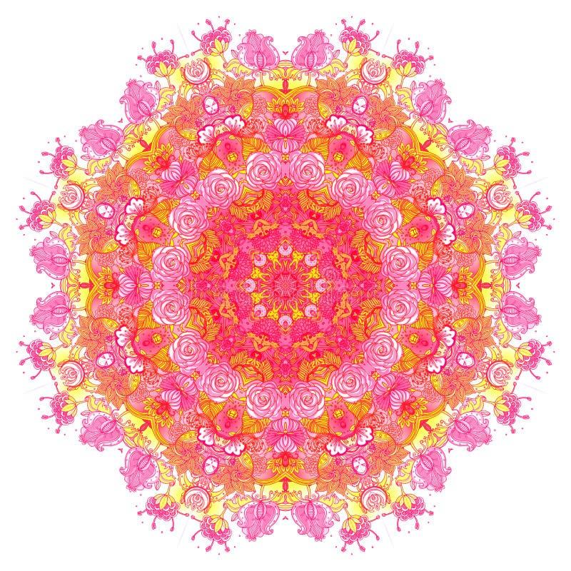 详细的花卉丝绸围巾设计 圆的形状的华丽样式 皇族释放例证