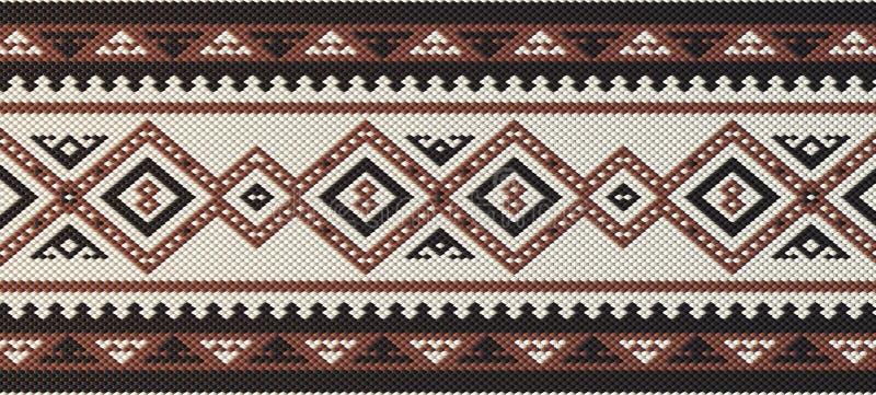详细的褐红的传统编织Patte的伙计Sadu阿拉伯手 库存例证