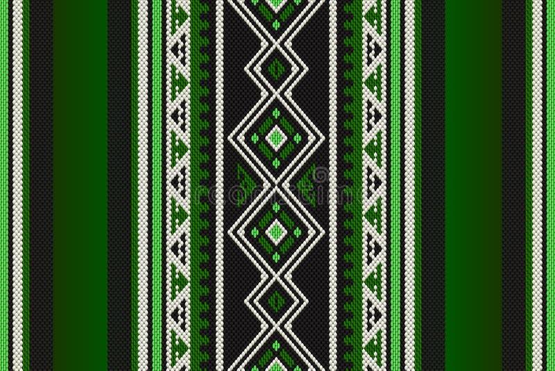 详细的绿色传统伙计Sadu阿拉伯手编织的啪答声 皇族释放例证